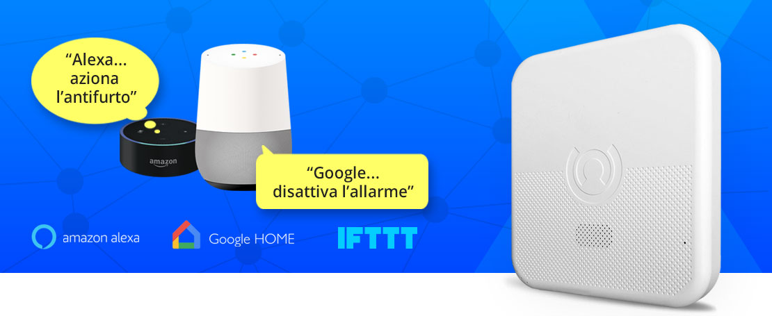Antifurto compatibile con Alexa, Google Home e IFTTT